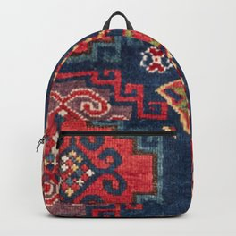 Royal Blue Red Kazak 19th Century Authentic Colorful El Paso Vibes Vintage Patterns Backpack