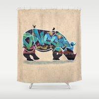 rhino Shower Curtains featuring Rhino by mark ashkenazi