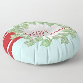 Happy Christmas striped holiday Floor Pillow