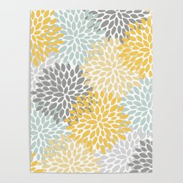 Floral Pattern, Yellow, Pale, Aqua, Blue and Gray Poster