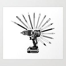 Power Tools Drill Art Bits Doodle Art Print