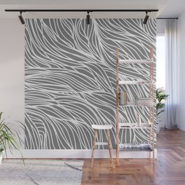 Gray Wave Lines Wall Mural