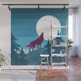 Wolf in the woods Wall Mural