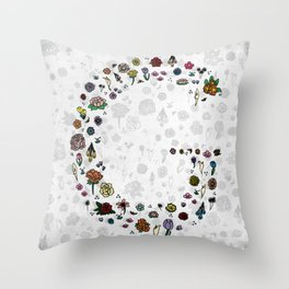 Letter G - Plants and Flower growth Throw Pillow