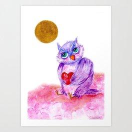 The little owl Cosette is in love Art Print