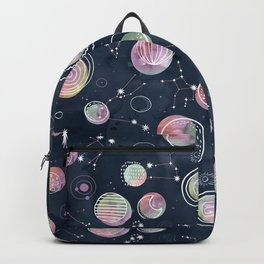 Cosmic Harmony - Watercolor Planets and Constellations Pattern Backpack