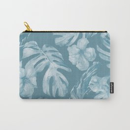 Tropical Escape Teal Blue Leaves + Hibiscus Carry-All Pouch
