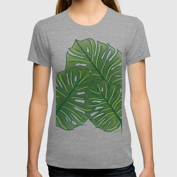 Large Monstera Leaf in Moss Green T-shirt