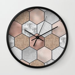 Marble hexagons and rose gold on black Wall Clock