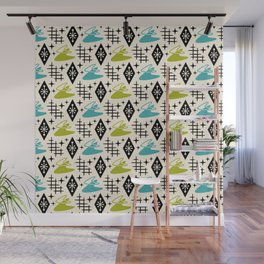 Mid Century Modern Boomerang Abstract Pattern Chartreuse and Turquoise 161 Wall Mural