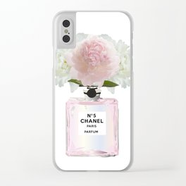 Pink perfume floral Clear iPhone Case