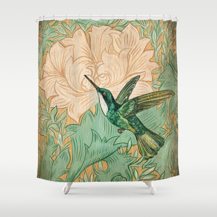 Hummingbird Shower Curtain By Vecchiostudio