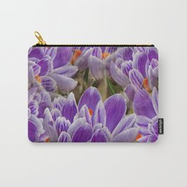 Striped Purple Crocuses Manipulated Carry-All Pouch