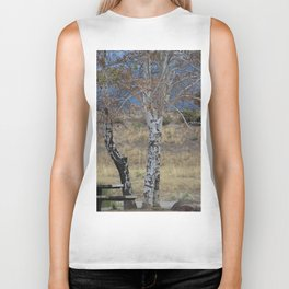 White Birch & Picnic Table Biker Tank