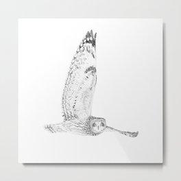 Black owl illustration  Metal Print