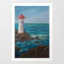 The Lighthouse Rocks AC151208c-12 Art Print