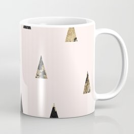 Elegant pink black gold abstract geometrical triangles marble Coffee Mug