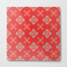 Red Background with Coral and Aqua Flower Pattern Metal Print