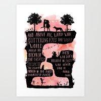 roald dahl Art Prints featuring Roald Dahl Quote Glittering Eyes by Starry Bear