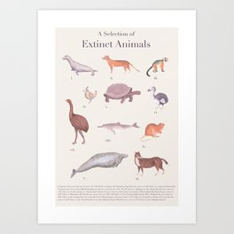 A Selection of Extinct Animals Art Print