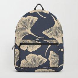 Ginkgo leaves / Elegant / Blue and gold Backpack