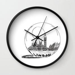 London in a glass ball . art Wall Clock