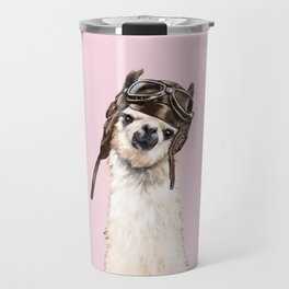 Cool Pilot Llama in Pink Travel Mug