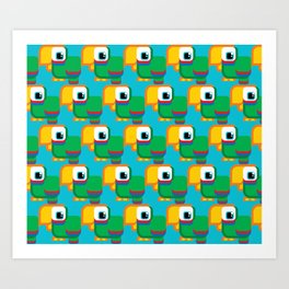 Green, blue and red parrot - Pretty little birdies Art Print