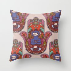Hamsa Sloth Throw Pillow