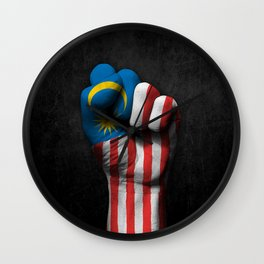 Malaysian Flag on a Raised Clenched Fist Wall Clock