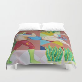 Huracanrana in the greenhouse Duvet Cover