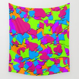 Lucky Hand Colorful Playing Card Suits Wall Tapestry
