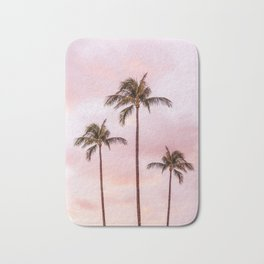 Palm Tree Photography Landscape Sunset Unicorn Clouds Blush Millennial Pink Bath Mat