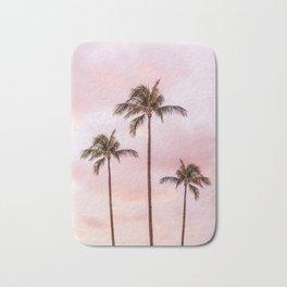 Palm Tree Photography | Landscape | Sunset Unicorn Clouds | Blush Millennial Pink Bath Mat