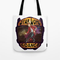 starlord Tote Bags featuring (Star) Lord of the Dance by Fiendish Thingy Art