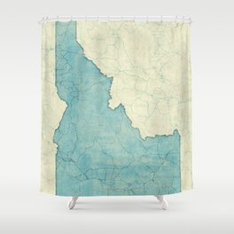 Idaho State Map Blue Vintage Shower Curtain