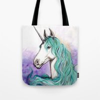 unicorn Tote Bags featuring Unicorn by Pendientera