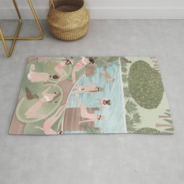Girls by the swimming pool Rug
