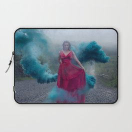 Beautiful, young and sexy female vampire style in a red dress with smoke outdoors. Laptop Sleeve