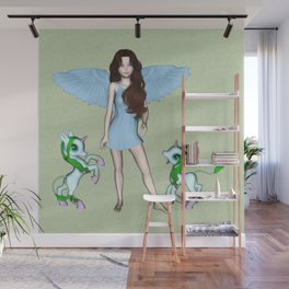 Blue Angel Baby Unicorns Wall Mural