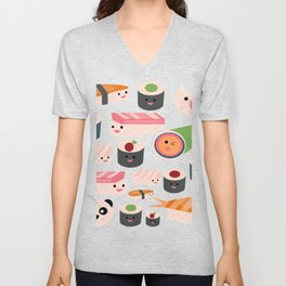 Kawaii sushi white Unisex V-Neck