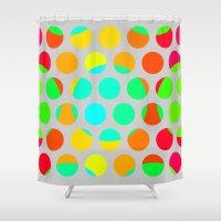 polka dot Shower Curtains featuring Polka Dot Polka Dots by Paul Ashby
