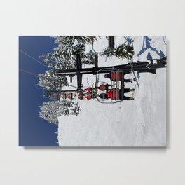 Blu Sky, White Snow, Red Jackets Metal Print