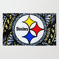 steelers Area & Throw Rugs featuring New Tribal Steelers by Lonica Photography & Poly Designs