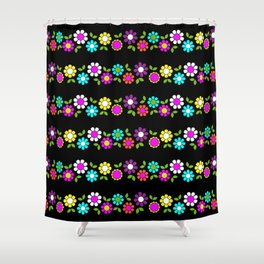 Mod Flowers Stripe Shower Curtain