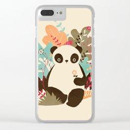 Flower Panda Clear iPhone Case
