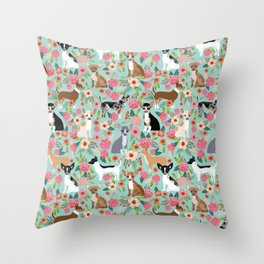 Chihuahua floral dog breed cute pet gifts for chiwawa lovers chihuahuas owners Throw Pillow