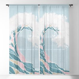 Surf X // Cali Beach Summer Surfing Rip Curl Gold Pink Aqua Abstract Ocean Wave Sheer Curtain