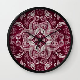 Dark cherry red dirty denim textured boho pattern Wall Clock