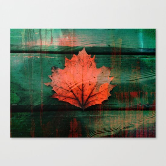 Rusty red dried fall leaf on wooden hunter green beams Canvas Print